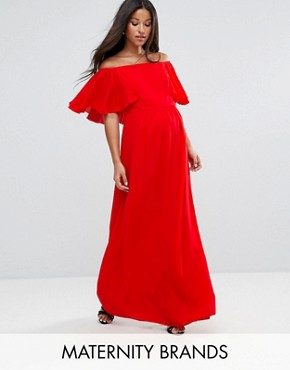 photo Off Shoulder Ruffle Maxi Dress by Queen Bee Maternity, color Red - Image 1