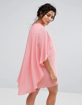 photo Shift Dress with Chiffon Waterfall Cape Detail by Queen Bee Maternity, color Pink - Image 2
