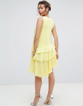 photo Asymmetric Ruffle Hem Mini Dress by Queen Bee Maternity, color Yellow - Image 2