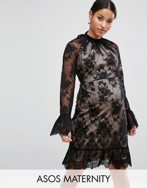 photo High Neck Open Back Lace Mini Dress by ASOS Maternity, color Black - Image 1