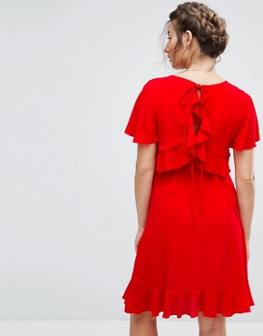 photo Tea Dress with Ruffle Hem by Queen Bee Maternity, color Red - Image 2