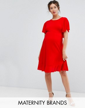 photo Tea Dress with Ruffle Hem by Queen Bee Maternity, color Red - Image 1