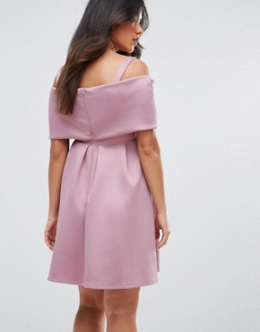 photo Bow Front Off the Shoulder Bardot Skater Mini Dress by ASOS Maternity PETITE, color Mauve - Image 2