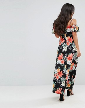 photo Floral Cold Shoulder Maxi Dress by Queen Bee Maternity, color Multi - Image 2