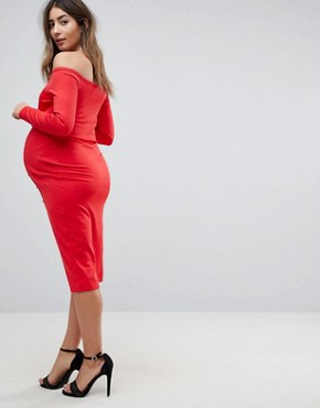 photo Midi Sweetheart Neck Button Through Bodycon Dress by ASOS Maternity, color Red - Image 2