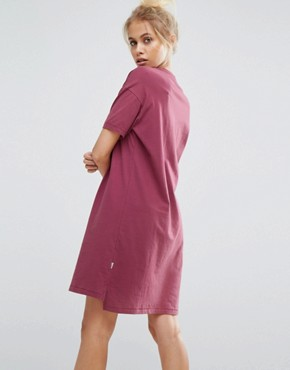 photo Varsity Overlapped Logo Tee Dress in Burgundy by Converse, color Burgundy - Image 2