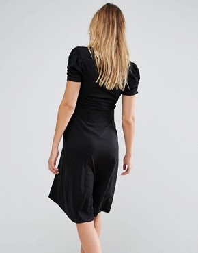 photo Puff Sleeve Dress by New Look Maternity, color Black - Image 2