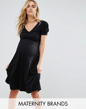 photo Puff Sleeve Dress by New Look Maternity, color Black - Image 1