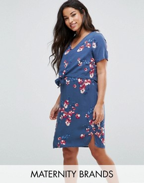 photo Floral Printed Double Layer Dress by Mamalicious Nursing, color Multi - Image 1