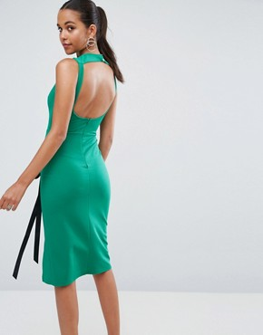 photo Eyelet Lace up Midi Bodycon Dress with Thigh Split by ASOS, color Green - Image 2