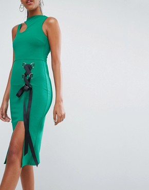photo Eyelet Lace up Midi Bodycon Dress with Thigh Split by ASOS, color Green - Image 3
