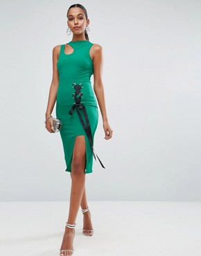 photo Eyelet Lace up Midi Bodycon Dress with Thigh Split by ASOS, color Green - Image 4