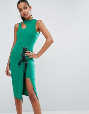 photo Eyelet Lace up Midi Bodycon Dress with Thigh Split by ASOS, color Green - Image 1