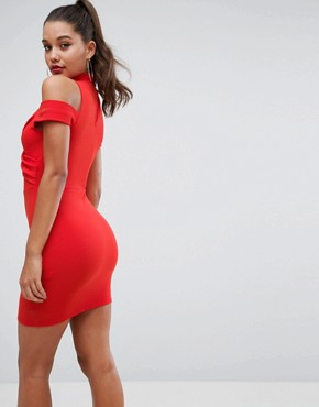 photo Ribbed Cold Shoulder Bodycon Mini Dress by ASOS, color Fiery Red - Image 2