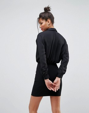 photo 2 in 1 Mini Shirt Dress by ASOS, color Black - Image 2
