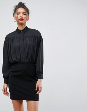 photo 2 in 1 Mini Shirt Dress by ASOS, color Black - Image 1