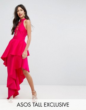 photo Sexy Lace Up Tiered Maxi Dress by ASOS TALL, color Pink - Image 1