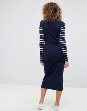 photo Knitted Stripe Dress by G-Star, color Sartho Blue/Off White - Image 2