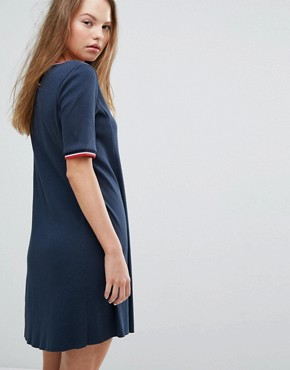 photo Ribbed Dress with Contrast Collar by Tommy Hilfiger Denim, color Total Eclipse - Image 2