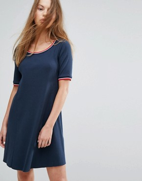 photo Ribbed Dress with Contrast Collar by Tommy Hilfiger Denim, color Total Eclipse - Image 1