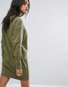 photo Be Raw Zip Sweat Dress with Arm Logo by G-Star, color Sage - Image 2
