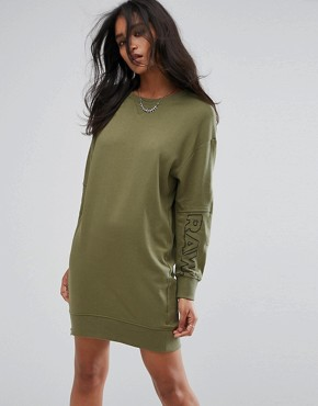photo Be Raw Zip Sweat Dress with Arm Logo by G-Star, color Sage - Image 1
