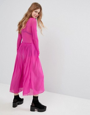 photo High Neck Mesh Dress by Monki, color Pink - Image 2