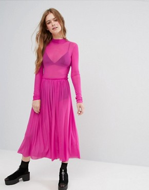 photo High Neck Mesh Dress by Monki, color Pink - Image 1