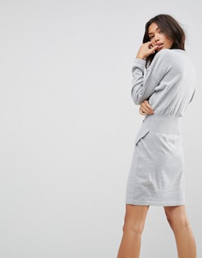photo Knitted Dress with Batwing AnD-Ring Detail by ASOS, color Grey Marl - Image 2