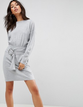 photo Knitted Dress with Batwing AnD-Ring Detail by ASOS, color Grey Marl - Image 1