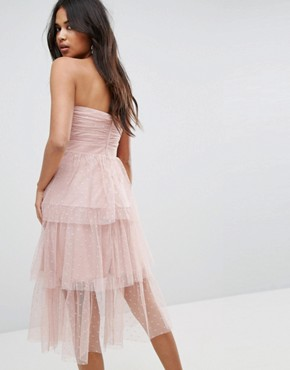 photo Bardot Dobby Tiered Mesh Midi Prom Dress by ASOS, color Beige - Image 2
