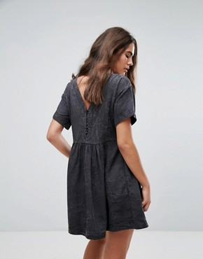 photo Lorette Stonewashed Denim Look Dress by Pepe Jeans, color Black - Image 2