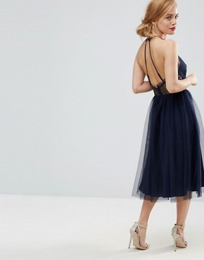 photo Lace Panelled Tulle Mesh Midi Dress by ASOS PETITE, color Navy - Image 2
