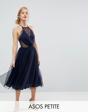 photo Lace Panelled Tulle Mesh Midi Dress by ASOS PETITE, color Navy - Image 1