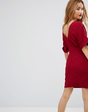 photo Mini Smart Woven Dress with D-Ring Belt by ASOS PETITE, color Rhubarb - Image 2