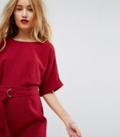 photo Mini Smart Woven Dress with D-Ring Belt by ASOS PETITE, color Rhubarb - Image 3