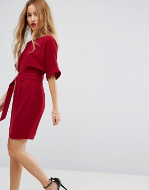 photo Mini Smart Woven Dress with D-Ring Belt by ASOS PETITE, color Rhubarb - Image 4
