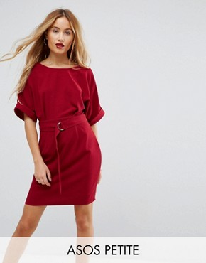 photo Mini Smart Woven Dress with D-Ring Belt by ASOS PETITE, color Rhubarb - Image 1