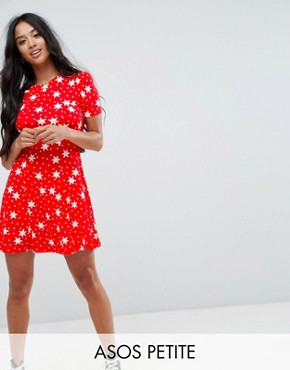 photo Mini Tea Dress in Star Print by ASOS PETITE, color Red - Image 1