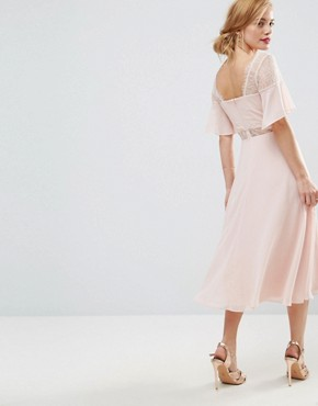 photo Kate Lace Midi Dress by ASOS PETITE, color Peach - Image 2