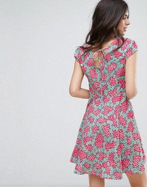 photo Fit and Flare Dress in Daisy Chain Print by Anmol, color Fuchsia Aqua - Image 2