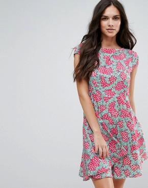 photo Fit and Flare Dress in Daisy Chain Print by Anmol, color Fuchsia Aqua - Image 1