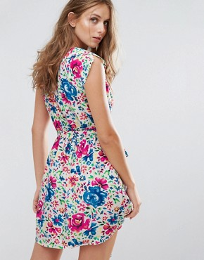 photo Floral Print Dress by Anmol, color Blue Pink - Image 2