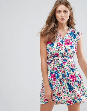 photo Floral Print Dress by Anmol, color Blue Pink - Image 1