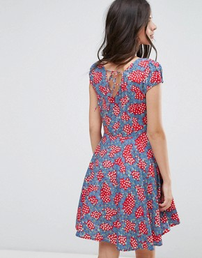 photo Fit and Flare Dress in Daisy Chain Print by Anmol, color Red Blue - Image 2