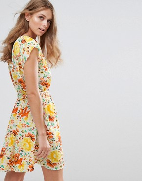 photo Floral Print Dress by Anmol, color Yellow Orange - Image 2