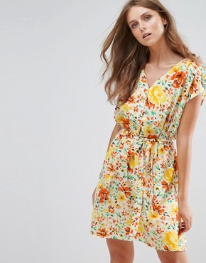 photo Floral Print Dress by Anmol, color Yellow Orange - Image 1