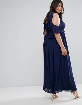 photo Frill Detail Maxi Dress by TFNC Plus WEDDING, color Navy - Image 2