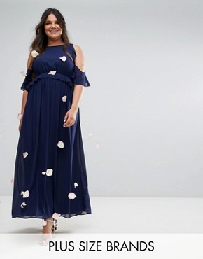 photo Frill Detail Maxi Dress by TFNC Plus WEDDING, color Navy - Image 1