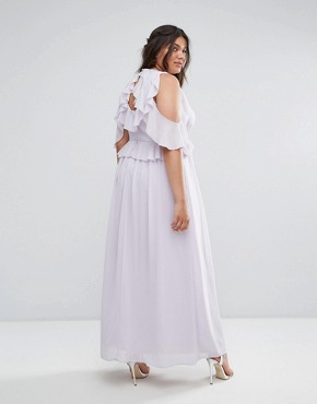 photo Frill Detail Maxi Dress by TFNC Plus WEDDING, color Lilac - Image 2